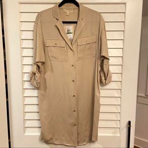 MICHAEL KORS 100% SILK DOLMAN DRESS W GOLD DETAILS